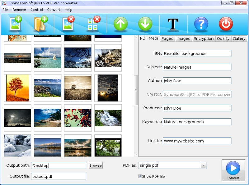 Create PDF photo albums from JPG images.